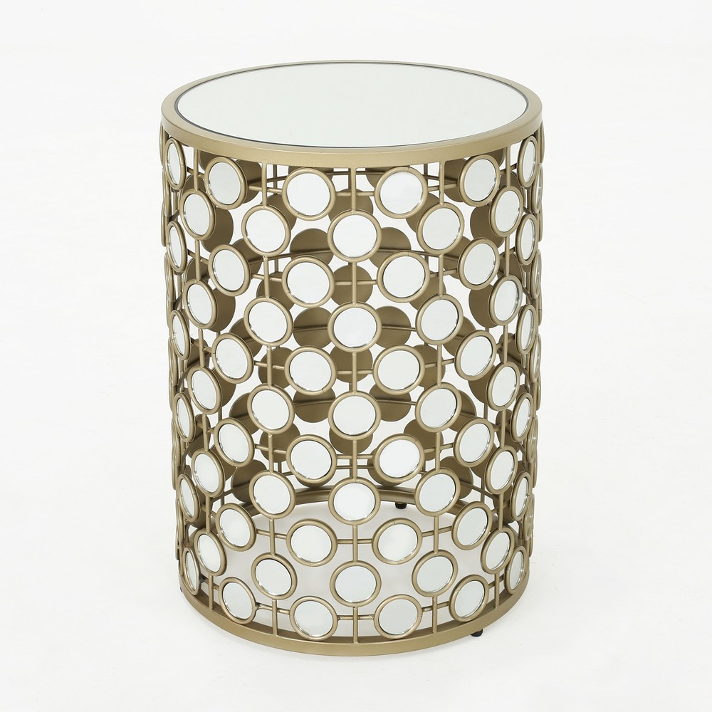 Ezri Honeycomb Side Table Mirror/Gold - Christopher Knight Home