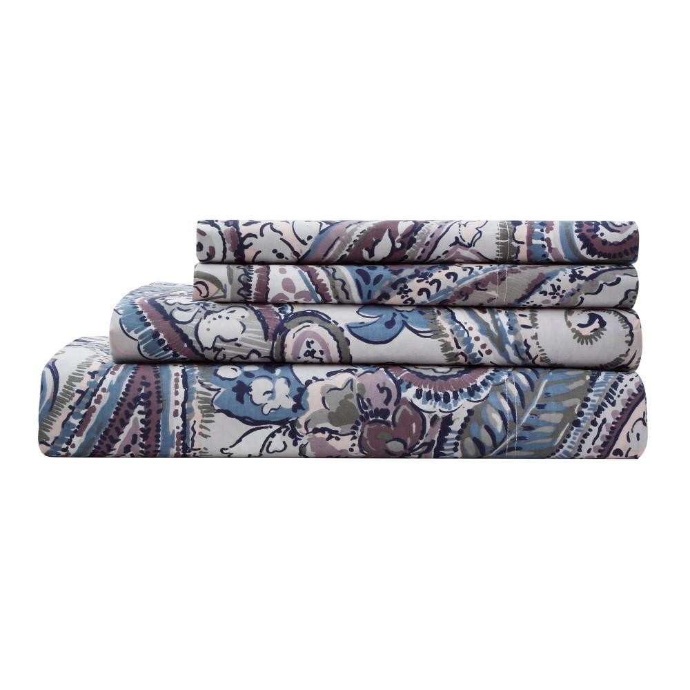 Elite Home Elisha Cotton Printed Sheet Set California King Gray 300 Thread Count