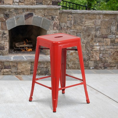 "Flash Furniture Commercial Grade 24"" High Backless Metal Indoor-Outdoor Counter Height Stool with Square Seat"