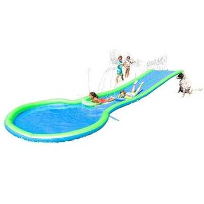 HearthSong Ultimate Extra Long 2 Person Water Slide with Sprinkler, Splash Pool, and Two Inflatable Speed Boards