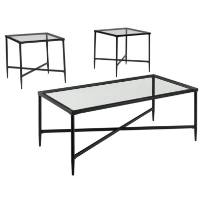 3pc Augeron Coffee and End Table Set Black - Signature Design by Ashley