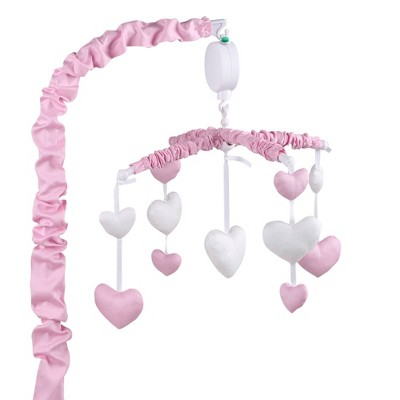 The Peanutshell Hearts Musical Mobile in Pink
