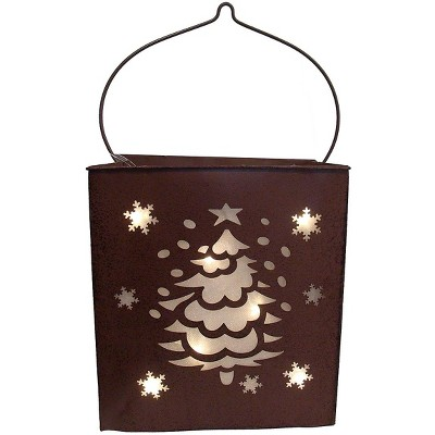 "Sterling 12.5"" Shimmering LED Lighted Christmas Tree and Snowflake Battery Operated Lantern - Brown"