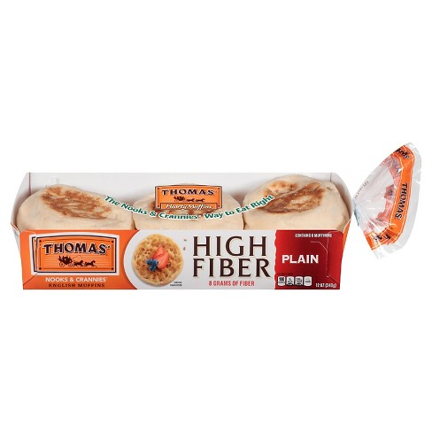 Thomas' Plain High Fiber English Muffin 12oz 6ct - image 1 of 1