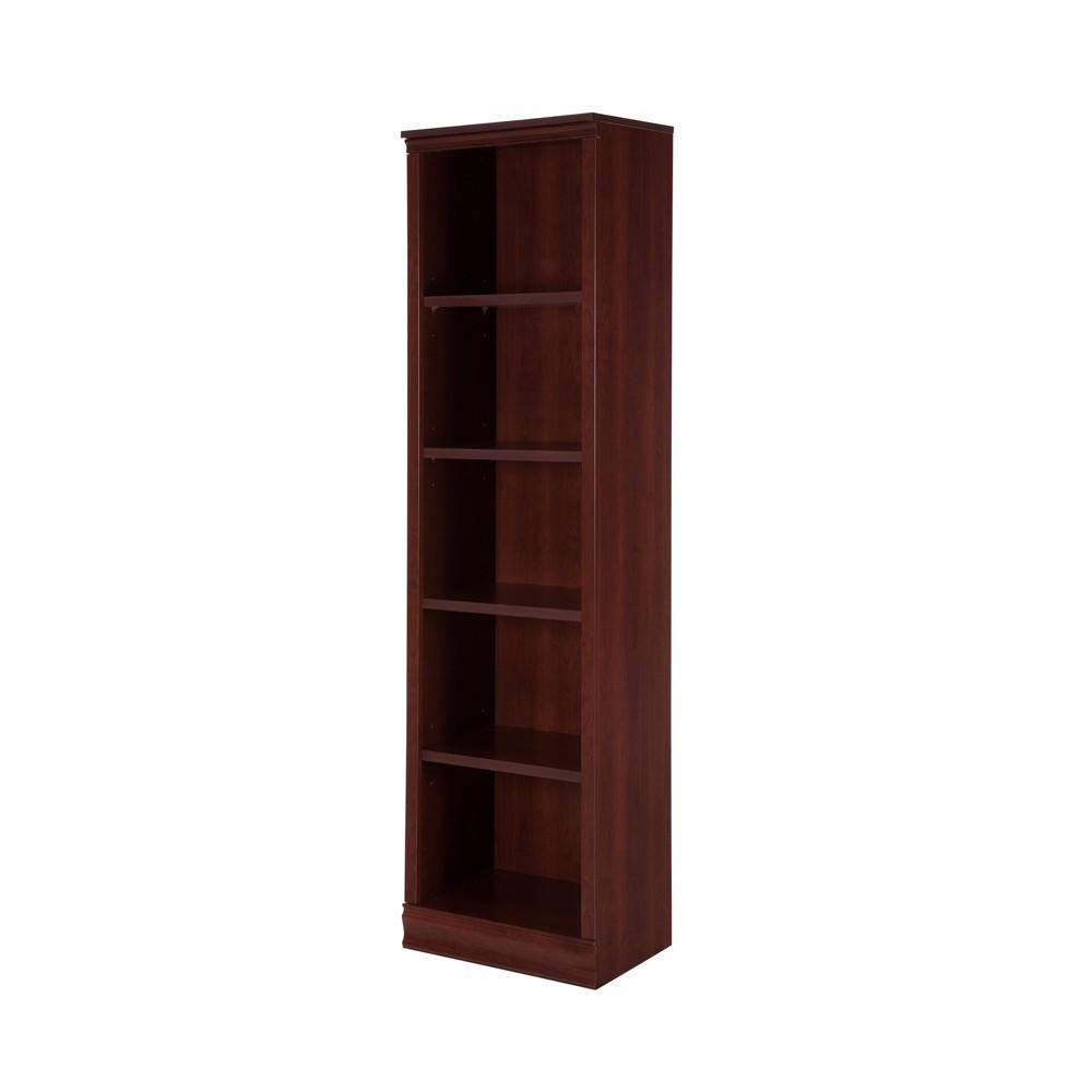 71.42 Morgan 5 Shelf Narrow Bookcase Royal Cherry - South Shore