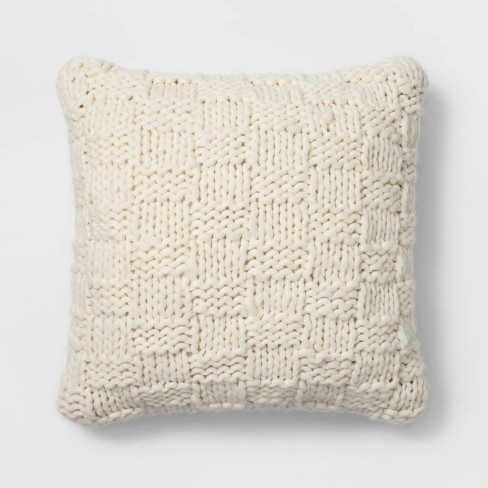 Chunky Knit Oversize Square Throw Pillow Cream - Threshold™ - image 1 of 4