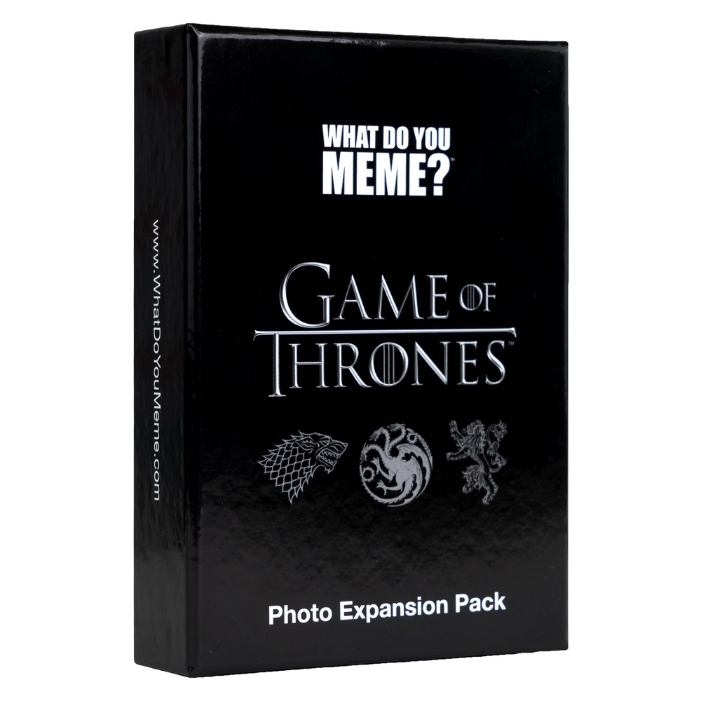 What Do You Meme? Game of Thrones Expansion Pack Now's your chance to meme Cersei, Jon Snow, Tyrion Lannister, and all your favorite Game of Thrones characters! This binge-worthy expansion pack contains 75 premium photo cards. Requires What Do You Meme? Core Game to play. Gender: unisex.