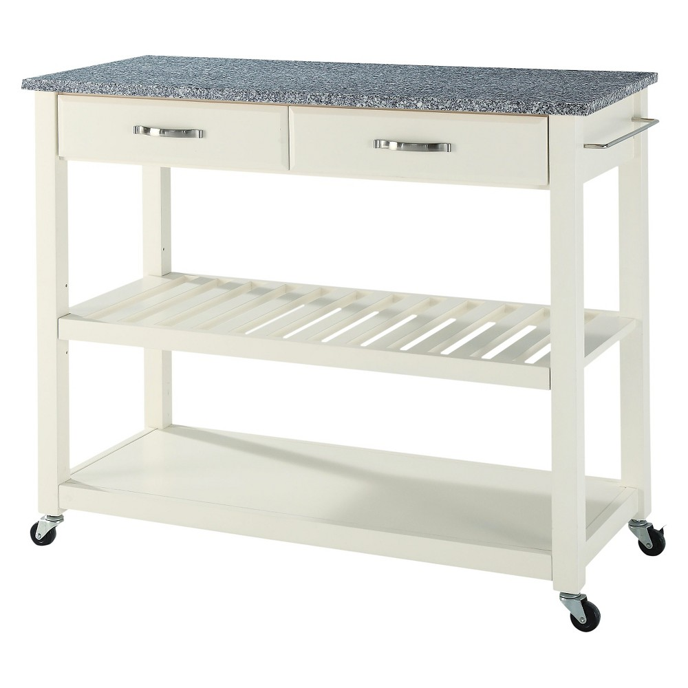 Solid Granite Top Kitchen Cart/Island With Optional Stool Storage - White - Crosley