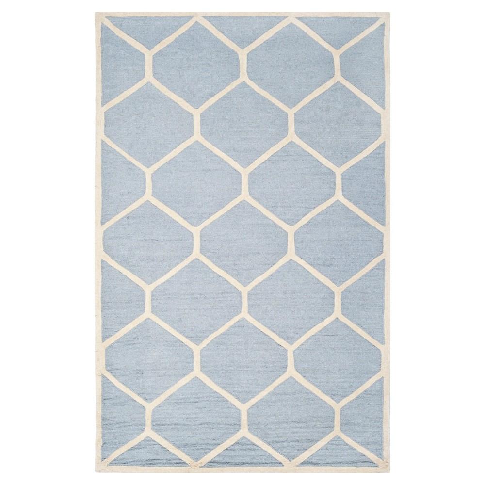 Hunter Texture Wool Rug - Light Blue / Ivory (5' X 8') - Safavieh, Light Blue/Ivory