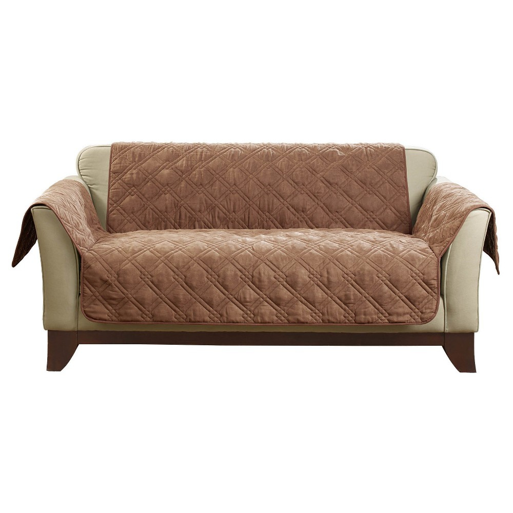 Brown Deluxe Non-Skid Waterproof Loveseat Furniture Cover - Sure Fit