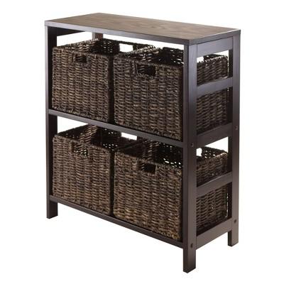 5pc Granville Set Storage Shelf with Baskets Espresso Brown - Winsome