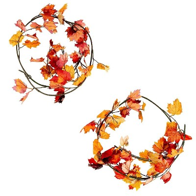 Juvale 2 Pack Artificial Maple Leaf Garland - Fall Autumn, Thanksgiving Decor, Wedding Home Décor