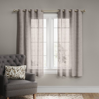 "84""x54"" Textured Weave Light Filtering Curtain Panel Gray - Threshold™"