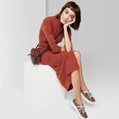 Women's Long Sleeve Mock Turtleneck Rib Knit Midi Dress - Wild Fable™ Rust L