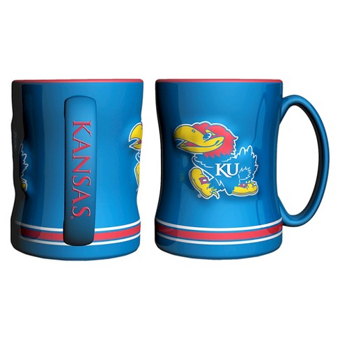 Kansas Jayhawks Boelter Brands 2 Pack Sculpted Relief Style Coffee Mug - Blue/ Red (15 oz) - image 1 of 1