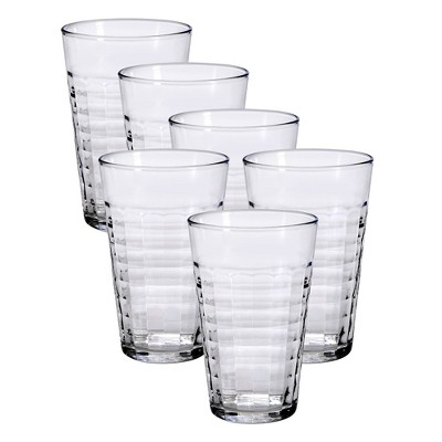 Duralex Prisme 17.5 Ounce Clear Tempered Glass Stacking Glassware Drinkware Tumbler Drinking Glasses, Set of 6