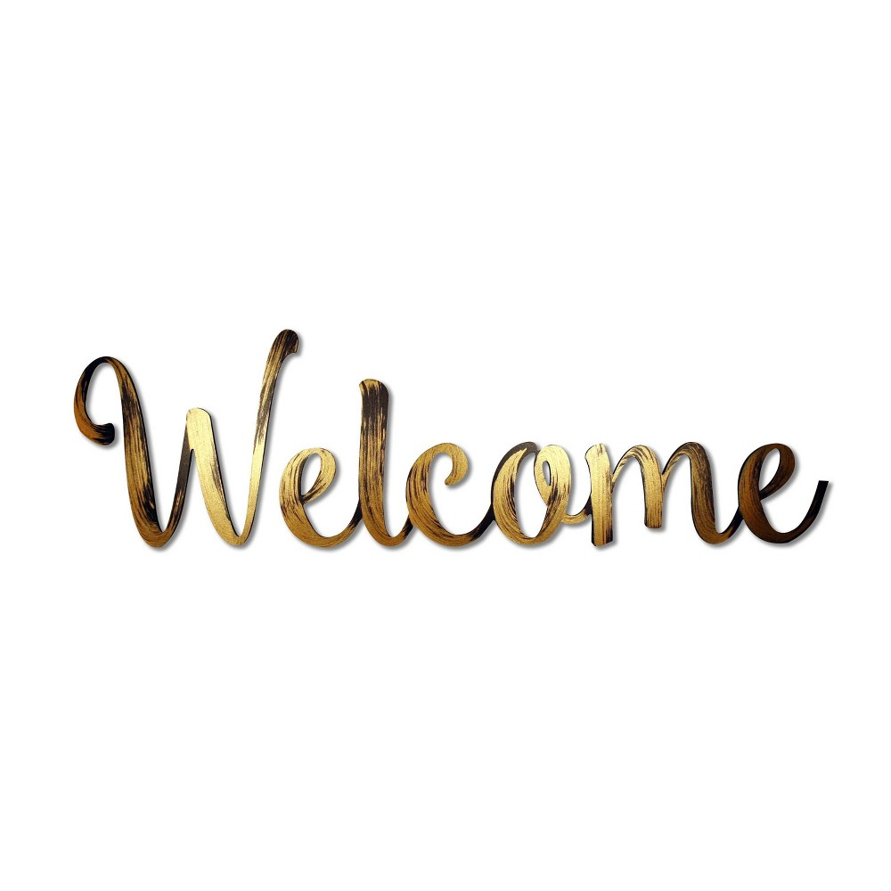 """Image of """"8"""""""" X 28"""""""" 'WELCOME' Decorative Wall Art Bronze - L2W, Gold"""""""