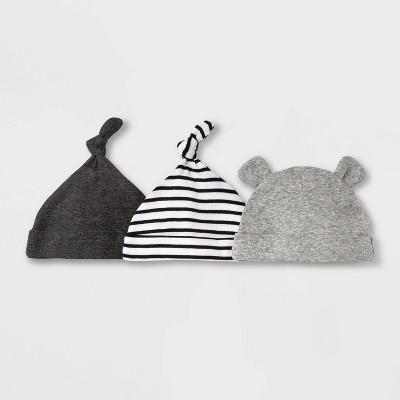 Baby 3pk Basic Hat - Cloud Island™ Black Newborn