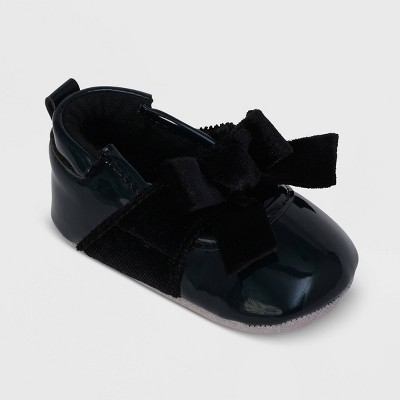 Ro+Me by Robeez Baby Girls' Velvet Mary Jane Shoes - Black 12-18M