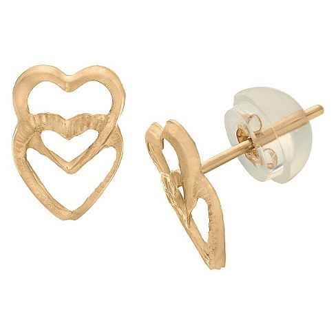 Tiara Kid's Double Heart Stud Earrings in 14K Gold - image 1 of 1