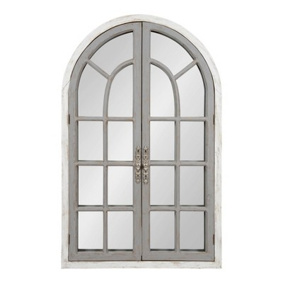 """28"""" x 44"""" Boldmere Wood Windowpane Arch Mirror White/Gray - Kate and Laurel"""