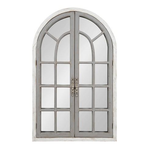 28 X 44 Boldmere Wood Windowpane Arch, Arched Window Pane Mirror Large