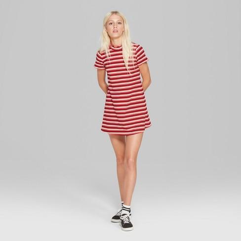 Womens Short Sleeve Striped Mock Neck Rib Knit Dress Wild Fable