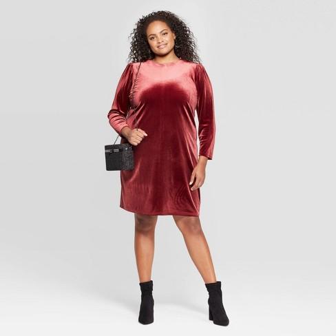Women\'s Plus Size Long Sleeve Crewneck At Knee Sheath dress - A New Day™