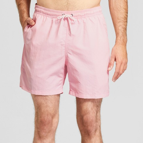 "Men's 6"" Elastic Waist Swim Trunks - Goodfellow & Co™ Cheerful Pink - image 1 of 3"