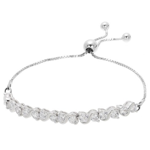 "Women's Adjustable Bracelet with S Set Clear Cubic Zirconias in Sterling Silver- Silver/Clear (9.25"") - image 1 of 1"