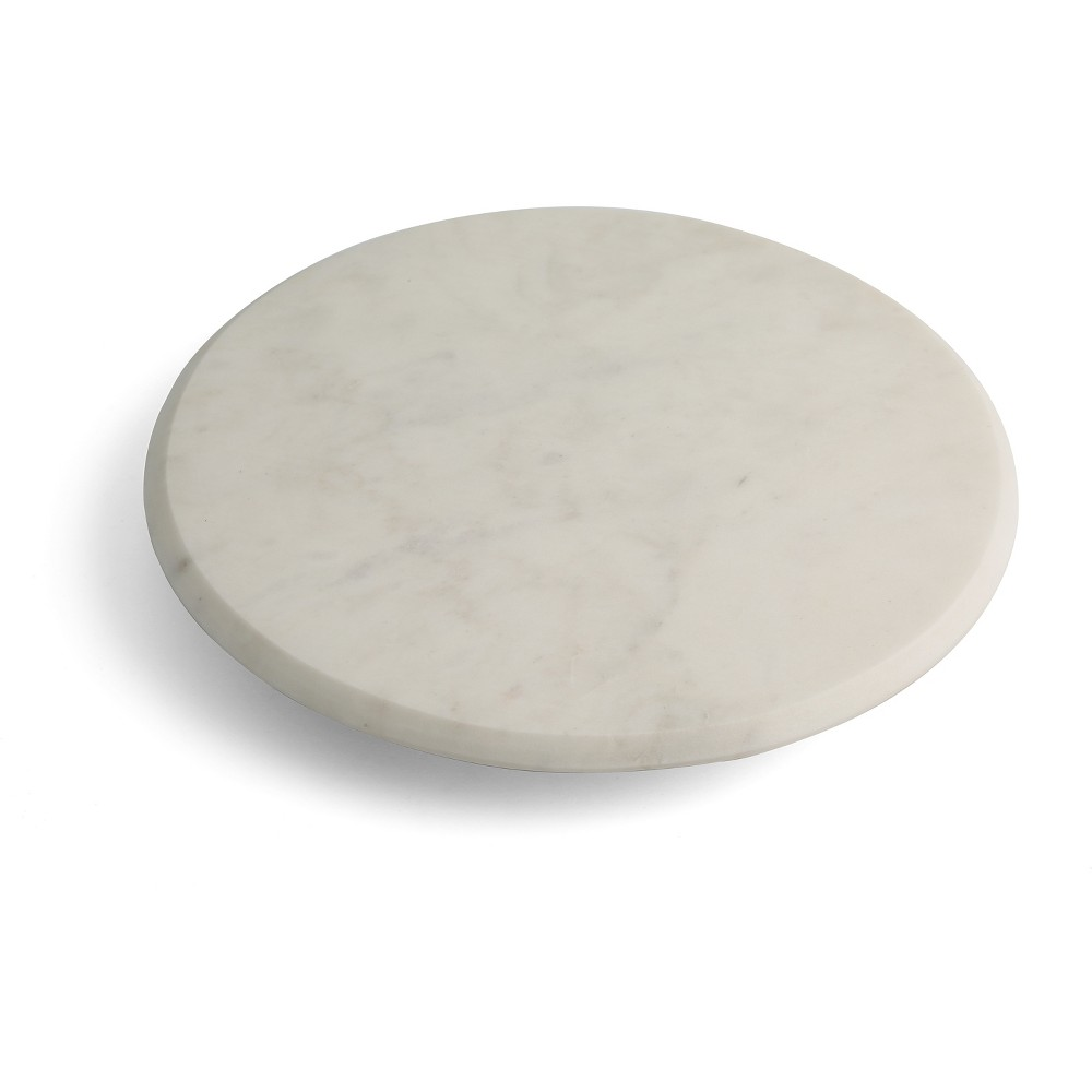 "Image of ""Thirstystone 14"""" Round Marble Lazy Susan, White Brown"""