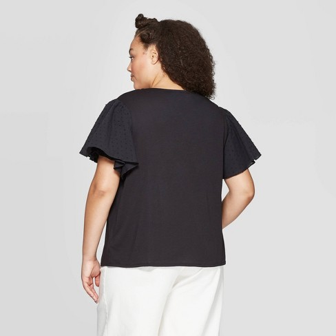 d6d04d0ce8b3f0 Women's Plus Size Puff Short Sleeve Scoop Neck Top - Who What Wear ...