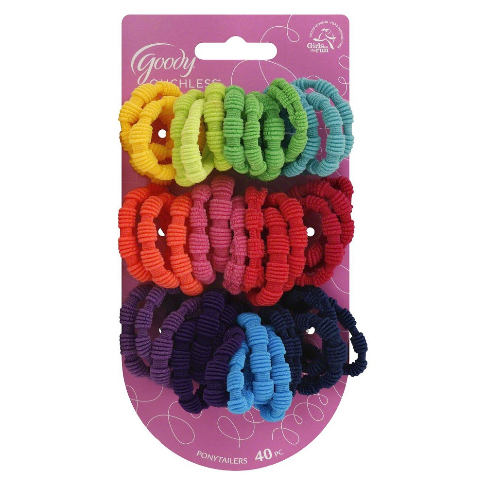 Goody Ribbed Ponytail Holders - 40 ct, Multi-Colored
