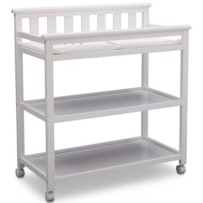 Delta Children Adley Changing Table with Casters - Bianca White