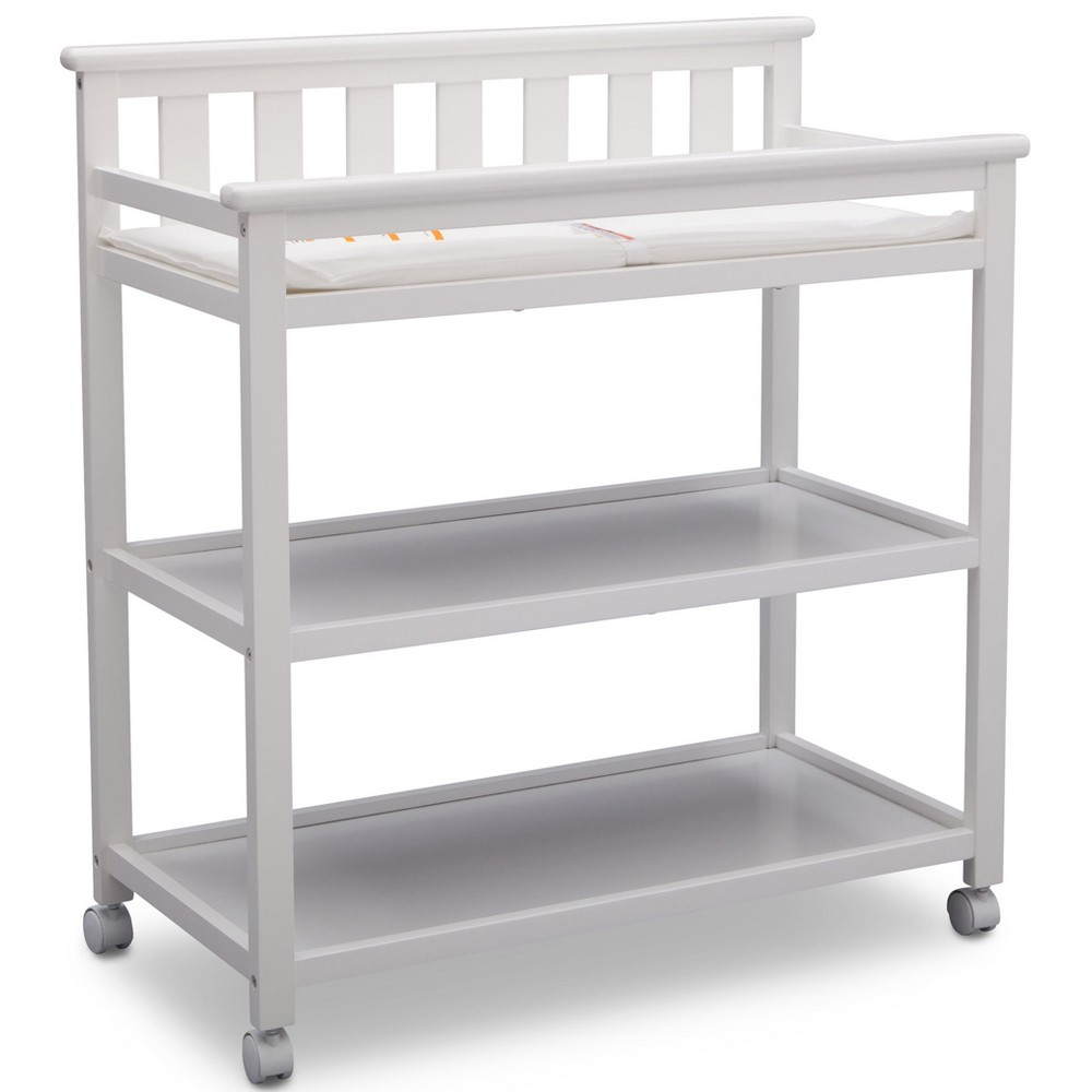 Image of Delta Children Adley Changing Table with Casters - Bianca White