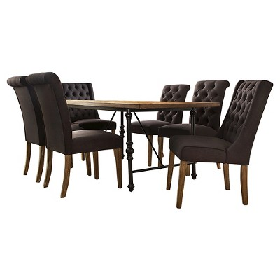 Merida 7pc Rustic Industrial Hostess Dining Set   Dark Grey Linen   Inspire  Q