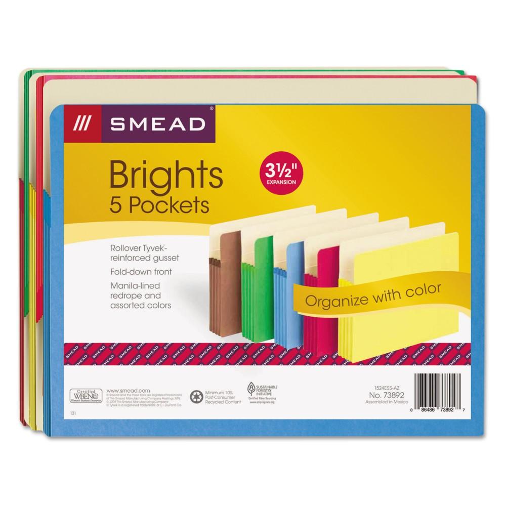 Smead 3.5 Expanding File Folder Letter 5ct Multicolor, Multi-Colored