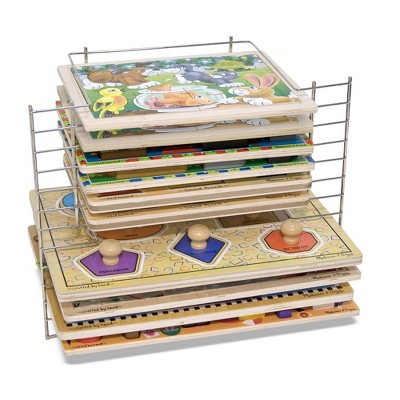 Melissa & Doug Deluxe Metal Wire Puzzle Storage Rack for 12 Small and Large Puzzles