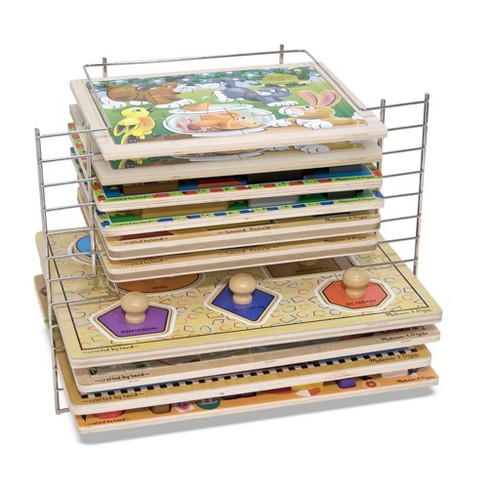 Melissa & Doug Deluxe Metal Wire Puzzle Storage Rack for 12 Small and Large Puzzles - image 1 of 4