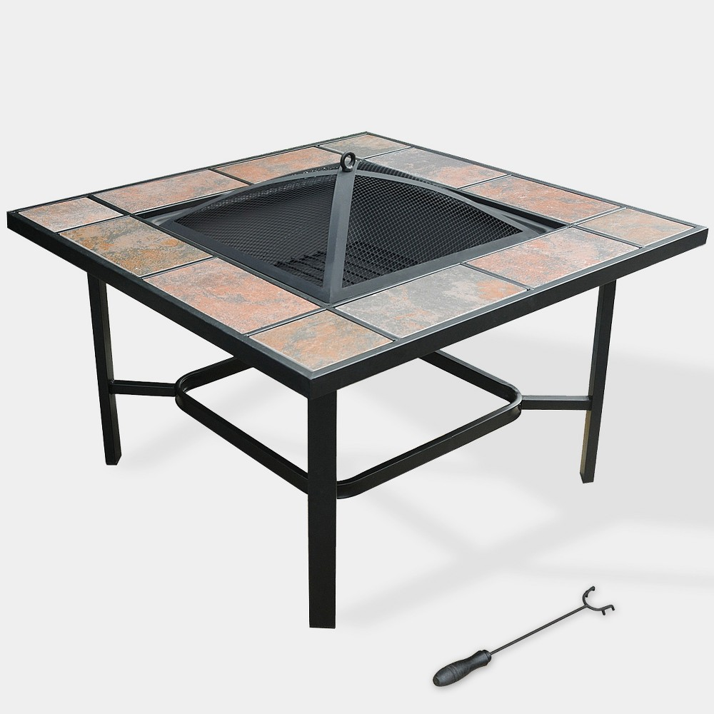 "Image of ""33"""" 4-in-1 Capri Ceramic Tile Fire Table Black - leisurelife"""