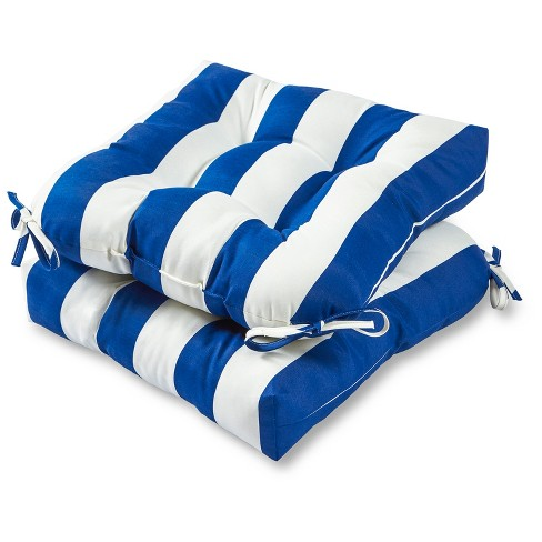 Set of 2 Outdoor Chair Cushions - Cabana Stripe Blue - Greendale Home Fashions - image 1 of 2