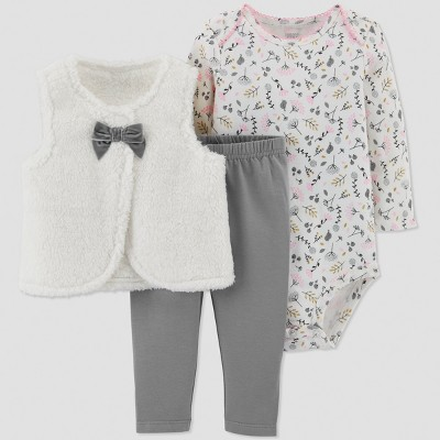 Baby Girls' 3pc Floral Sherpa Vest Set - Just One You® made by carter's White 3M