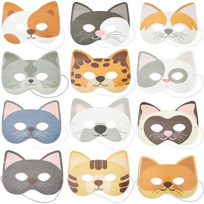 24 Pack Paper Cat Masks for Kids, Toddler mask, Kitten Animal Party Dress-Up Cosplay Costumes Favor Birthday Decoration, Animal Party Supplies,