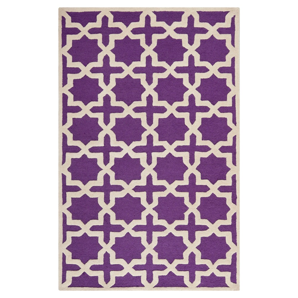Marnie Texture Wool Rug - Purple / Ivory (5' X 8') - Safavieh, Purple/Ivory