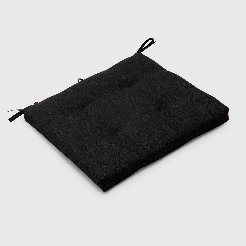 Outdoor Tufted Seat Cushion Black - Threshold