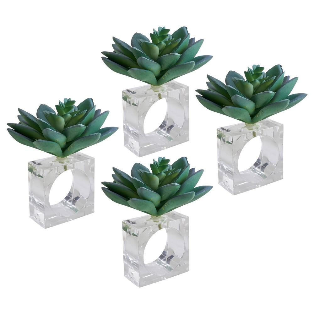Image of 4pk Plastic Succulent Napkin Rings - Saro Lifestyle