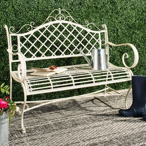 Abner Wrought Iron Outdoor Garden Bench - Antique White - Safavieh : Target - Abner Wrought Iron Outdoor Garden Bench - Antique White - Safavieh