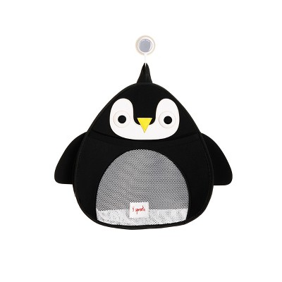 3 Sprouts Penguin Bath Storage - Black