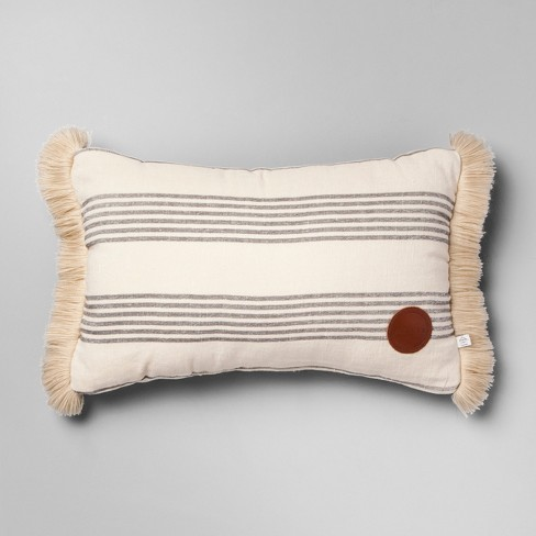 Throw Pillow Striped - Gray/Cream - Hearth & Hand™ with Magnolia - image 1 of 6