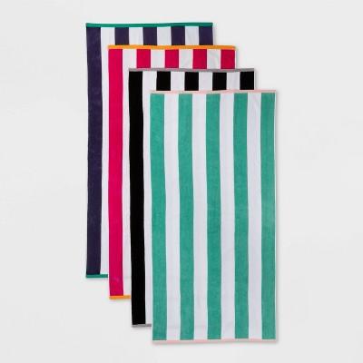 4pk Reversible Striped Beach Towel Set - Sun Squad™